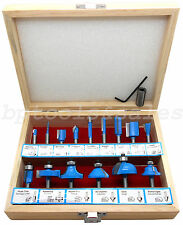 """New 15 Pc Router Bit Set Tugsten Carbide HD 1/4"""" Shank Wood Cutting Wood Working"""