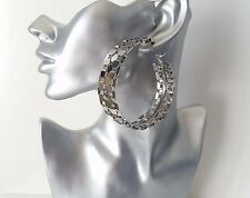 Big & fab! sexy XTRA wide silver tone chunky wide chain style hoop earrings  NEW
