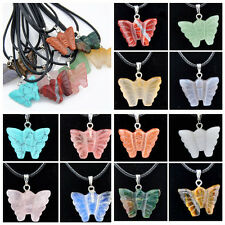 Lots 12pcs Natural Stone beautiful butterfly pendant necklace XL382