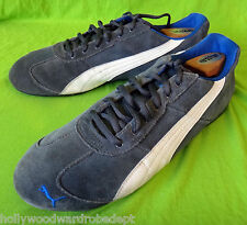 PUMA vtg 12 46 grey gray white suede leather driving moccasin running sneaker