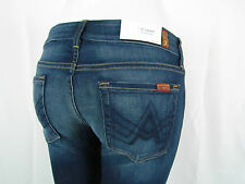 Seven 7 For All Mankind PETITE A POCKET Flare Jean Women 28 AGGRESSIVE DARK BLUE