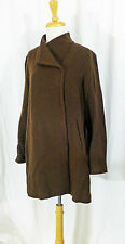 EILEEN FISHER SEPIA BROWN TEXTURED WOOL BLEND TOPPER DUSTER SHORT COAT M LN FALL