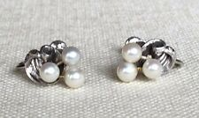 Vintage Mikimoto Triple Pearl Art Deco Etched Sterling Screwback Earrings