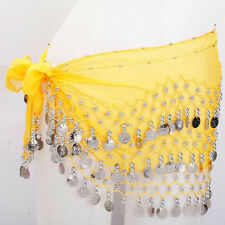 Fashion Belly Dance Belt Crystal Hip Scarf 3 Row of Silver Coin Scarf Wrap Skirt