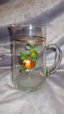 Small Vintage Juice Pitcher West Virginia Glass Company 32 ounce Fruit design