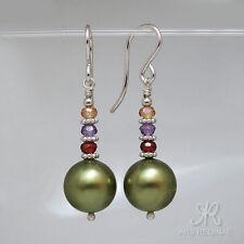 """● 10mm ● SC Perlen Ohrringe """"Peridot"""" Grün ÖKO """"grünes"""" Silber ● Anlaufschutz"""