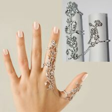 Gold Plated Stainless Steel Chain Two Finger Rings For Women Link Double Ring