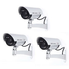 3x Silver Outdoor Dummy LED Red Flashing Security Camera CCTV Surveillance BT