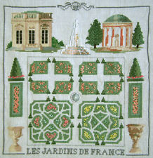 GORGEOUS! COMPLETED CROSS STITCH 'LES JARDIN DE FRANCE' 'THE GARDENS OF FRANCE'