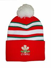 Wales Rugby Bobble Hat  - Red Stripe