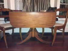Antique Wood Drop Leaf Dining Table w/ 4 Rose Back Chairs
