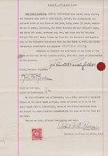 John D. Rockefeller signed 380.000 US$ Deed of Transfer * with Revenue Stamp