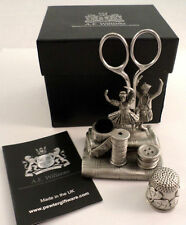A.E. Williams Sewing Station Pewter Irish Dancers Thimble Scissors Pin Cushion