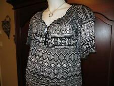 NEW 3X 4X Maternity Smocked Hem Peasant TOP Plus Size NWOT Black White Pattern