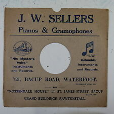 "78rpm 10"" card gramophone record sleeve / cover J W SELLERS rawtenstall"