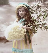 RPPC Beautiful Little GIRL with Big Muff NEW YEAR Tinted Photo Postcard