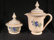Ancienne Cafetière Sucrière Manufacture de Porcelaine Opaque FF Pexonne Bleuets