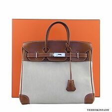 AUTHENTIC HERMES Haut a Courroies Birkin 28cm in Natural Barenia Leather/Toile