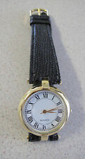 Watch Gold Plated leather band Roman numerals white dial Unisex 29 mm dial