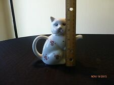 Vintage Teapot Cat Ceramic Figure White Red Flowers Gold Markings Collectible