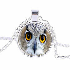 Vintage Fashion Owl Cabochon Tibetan Silver Glass Chain Pendant Necklace BX143
