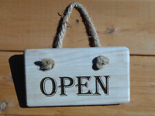 Hand Crafted Chunky Wooden Engraved Open / Closed Sign Reversible