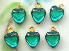#940N Vintage Heart Charms Drops Connectors Rhinestone Hearts Dangles green