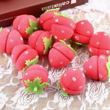 NS New 12pcs Foam Strawberry Balls Soft Sponge Hair Curlers Rollers Bun Round Wk
