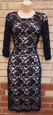 PRIMARK NAVY BLUE FLORAL LACE NUDE SLIP PENCIL TUBE BODYCON RARE DRESS 8 S