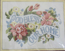 God Bless Our Home Crewel Embroidery Kit 2704 Sunset Stitchery Vtg. 1977 Open