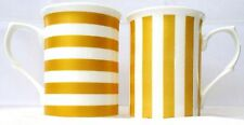 Metallic Simile Gold Lines Mugs Set of 2 Bone China Stripes Mugs Hand Decor UK