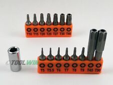 16 pc Security Torx Bit Set Star Tamper Proof T5 T7 T10 T15 T20 T25 T30 T40 T50