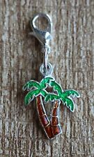 Tropical Palm Tree Lobster Claw Clasp Single Clip on Charm Pendant Sabo Fit