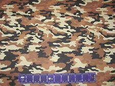CAMOUFLAGE 4 TONES WOODLAND BROWN HUNTING on COTTON FABRIC Price By The Yard