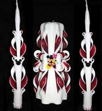 NEW Mickey & Minnie Mouse Wedding Unity Candle & 2 Taper Set Gift Disney Red/Wht
