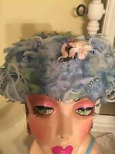 Vintage 1940's or 50's  Blue Floral Ladies Hat So Shabby Chic!