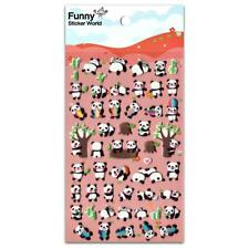 CUTE PANDA BEAR STICKERS Raised Puffy Vinyl Sticker Sheet Craft Scrapbook Kawaii