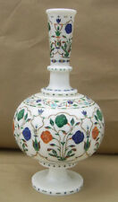 """11"""" White Marble Vase Flowers Multi Inlay Gems Mosaic Thanks Giving Gifts H2091"""