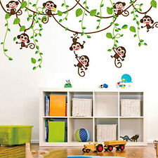 Home Kid Room Decor Cartoon Monkeys Climbing Jungle Tree Wall Sticker Gift