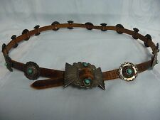 NAVAJO NATIVE AMERICAN SILVER & TURQUOISE CONCH BELT - LEATHER
