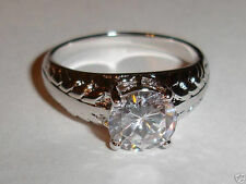 SOLITARE CUBIC ZIRCONIA LEAF DESIGN BAND RING, SIZE: 9