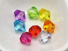 50 Mixed Colour Transparent Acrylic Faceted Bicone Beads 14mm Spacer Beads