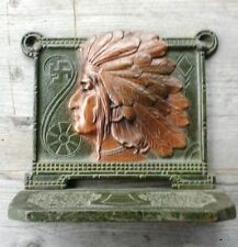 Antique Native American Indian Chief Head Cast Iron Bookend