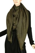 NEW FENDI ZUCCHINO FF DIAGONAL OLIVE OVERSIZED SILK WOOL SHAWL WRAP SCARF
