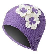 Vintage Style Ladies Purple Bubble Floral Swim Cap Beige Flowers Adult New