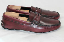Mens PRADA Penny Driving Shoe Loafer - Red Bruciato Leather 10US / 9UK 2DD (T87)