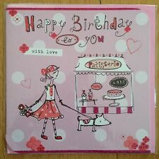 Birthday Greeting Card LARGE Pink Dog Patisserie *NEW* Adult Kids Female (870)