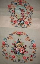 EP 4129 Vintage Medallion Back 2pc Chair Seat Set Preworked Needlepoint Canvas