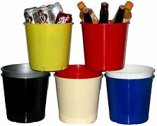 6 Plastic Ice Picnic Buckets Mfg USA Lead Free Durable Brilliant Colors