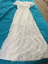 NWT MICHAEL Michael Kors Sz S, White Eyelet Tiered Strapless Maxi Dress $160